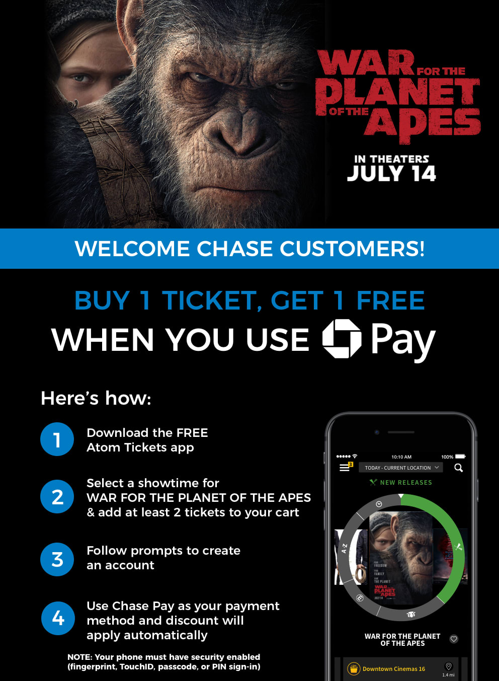 WAR FOR THE PLANET OF THE APES Buy One, Get One Chase Pay