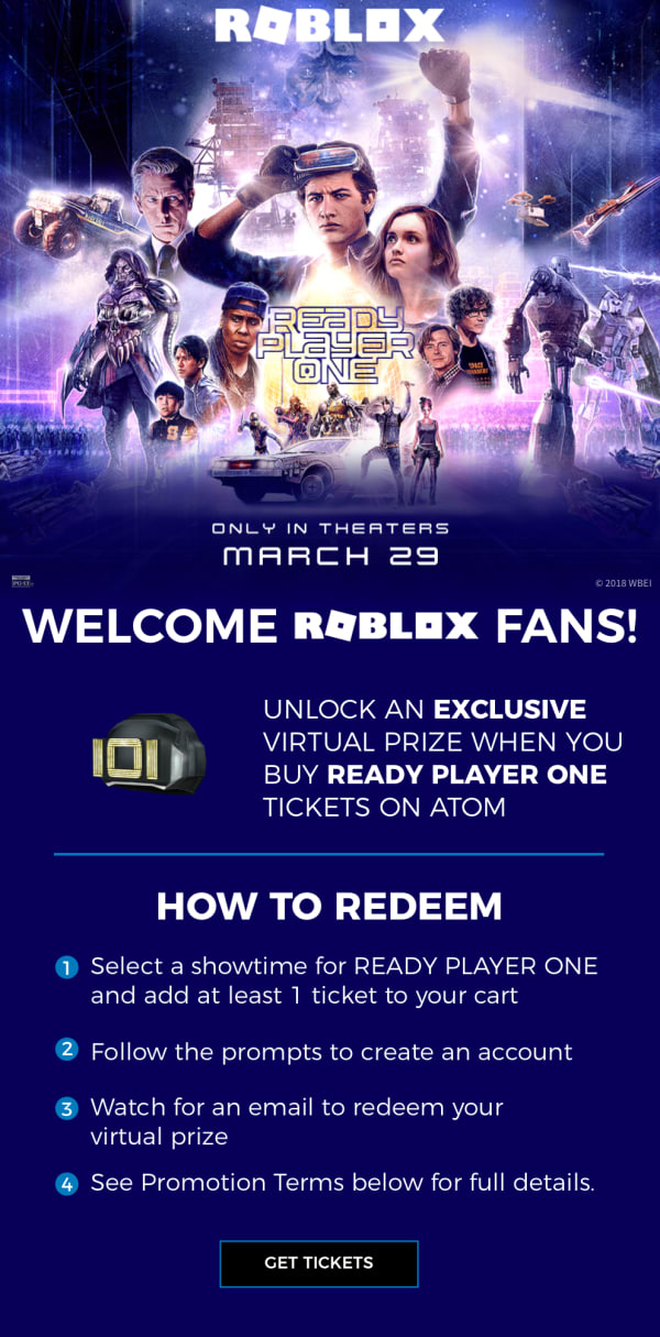 unlock an exclusive virtual prize with your ready player one ticket purchase atom your ticket to more ready player one ticket purchase
