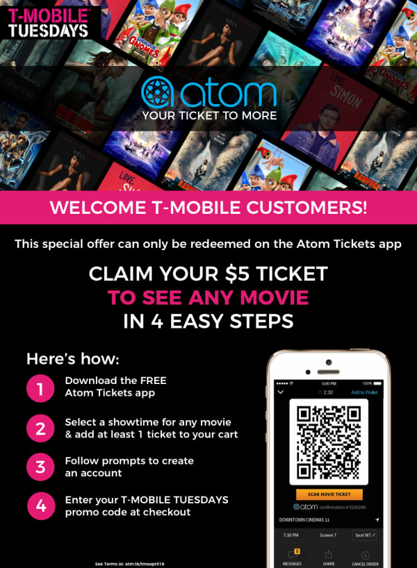 T-MOBILE TUESDAYS - April 2018 $5 Ticket Redemption | Atom, Your