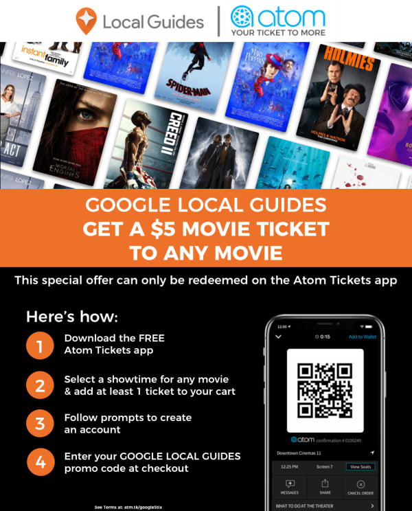 GOOGLE LOCAL GUIDES - Get a $5 Ticket to Any Movie (For a