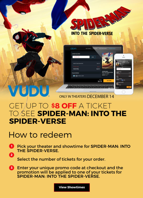 Atom CineSavings - Get Up to $8 Off a Ticket to SPIDER-MAN: INTO THE