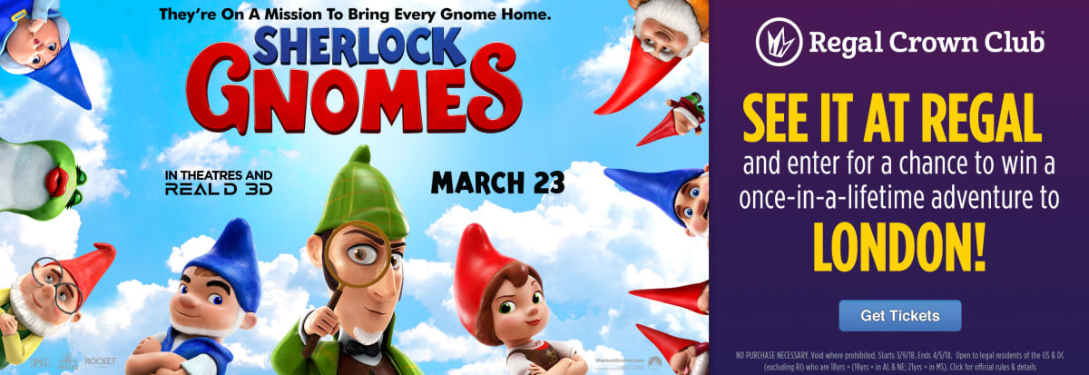 Regal cinemas ua edwards theatres movie tickets showtimes swipe your regal crown club card when you purchase tickets to see sherlock gnomes at regal negle Image collections