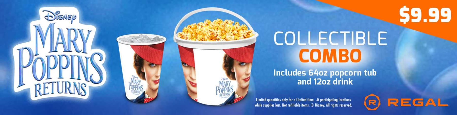 Mary Poppins Returns Collectible Combo Only $9.99 - Includes 64oz Collectible Popcorn tub & 12 oz. drink with cup.
